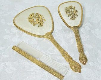Vintage Matson Dresser Set with 24k Gold Flashing - Floral and Cherub Pattern - Brush Comb and Mirror