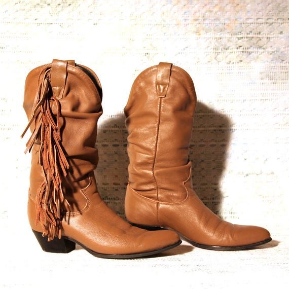 5 M Boot Rodeo 5 Low Size Vintage Fringe Heel Boots Shoes Tan 1980s with Leather Comfortable Scrunchy Cowgirl Drive Calf Mid q7a70wPf