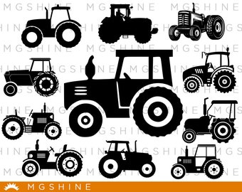 Tractor SVG for Cricut, Silhouette - Tractor silhouette - Tractor png clipart - Tractor dxf vector files - TS52