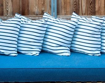 "Outdoor Sunbrella Lido Stripes Indigo on White Nautical Marine Decorative Throw Pillow Cover Size from 14""x14"" to 26""x26"" with Zipper"