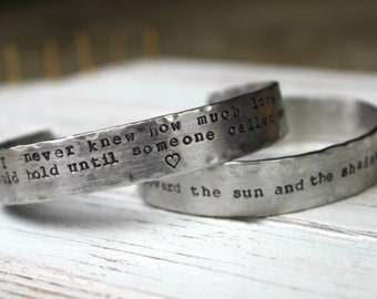 Custom Quote, Song, Lyric Handstamped Cuff Bracelet. Silver Aluminum or Copper.