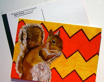 """Three (3) Yellow and Orange Chevron Squirrel (print reproduction postcard) 5"""" x 7"""" by Mike Kraus"""
