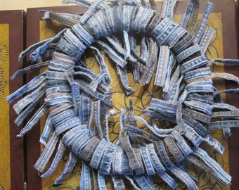 Recycled Blue Jean Wreath - Shabby Chic/Cottage/Recycled Jeans