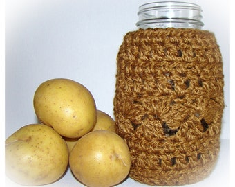 Rattan Ball Mason Jar Cozy Quart size, Brown canning cover, jar sleeve, Eco friendly Bamboo Hostess Gift