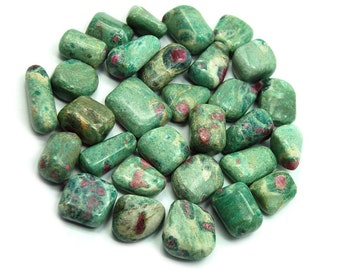 RUBY in ZOISITE Tumbled Stone, Natural Stone, Tumbled Ruby Zoisite,Anyolite,Polished Ruby Zoisite,Natural Ruby Zoisite Gemstone,Heart Chakra