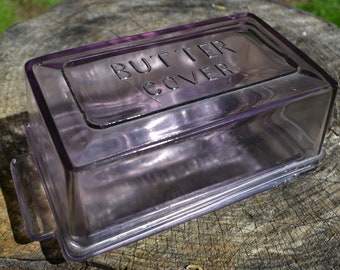 Antique Purple Glass Butter Dish, with Cover