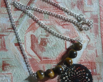 Necklace healing stone, Tiger eye, aged silver print