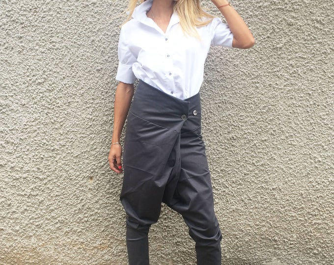 Extravagant High Waist Cotton Pants, Loose Casual Trousers, Formal Office Pants, Drop Crotch Harem Pants by SSDfashion