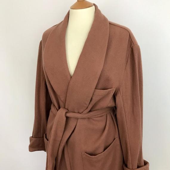 Vintage Aquascutum robe wool dressing gown camel colour wool designer XL unisex long budoir winter tan classic