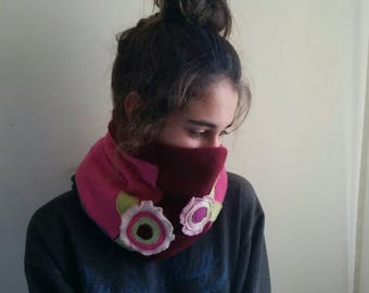 Upcycled Pink Cashmere Neck Warmer Cowl