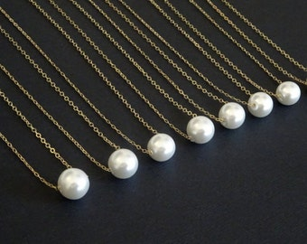 Pearl necklace, floating pearl necklace, single pearl necklace, Bridesmaid necklace, 6mm, 8 mm, 10 mm Pearl, Wedding Jewelry