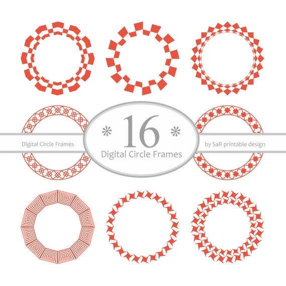 Digital round frames, Digital circle frame, Vector frames, Printable ...