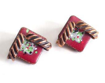 Modernist Earrings, Vintage MATISSE Copper Confetti Enamel Clip Earrings, Vintage Copper Earrings, Enamel Earrings, Abstract Enamel