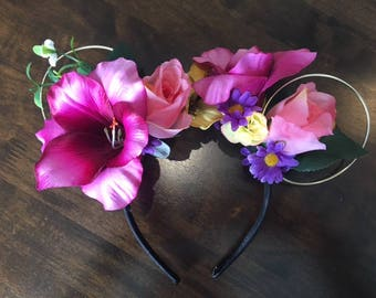 Romantic Princess Floral Wire Mouse Ears