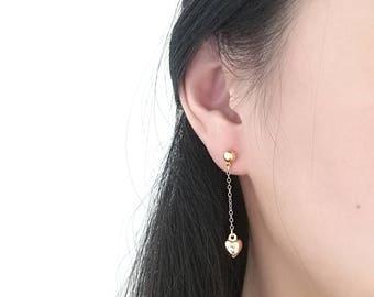 Chain Earring, Gold Chain Earring, Gold Drop Earring, Gold Dangle Earring, Heart Chain Earring, Star Chain Earring, Dangle Chain Earring