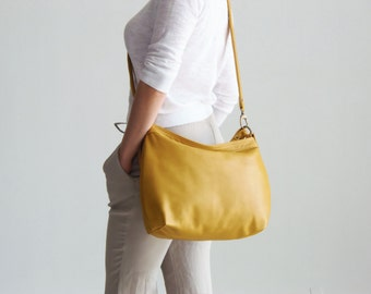 Yellow leather purse - Leather handbag - Leather hobo bag -  Yellow MEDIUM HELEN
