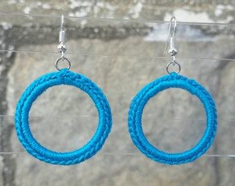 Crochet Earrings- Turquoise Earrings- Small Crochet Classic Hoop Earrings -Turquoise