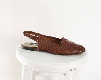 Vintage Brown Woven Leather Slides 8 - Brazilian Flats