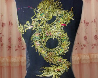 Gold Dragon Style Mesh Applique Sequins Applique Embroidered Applique, DIY  Applique -(HYXY)