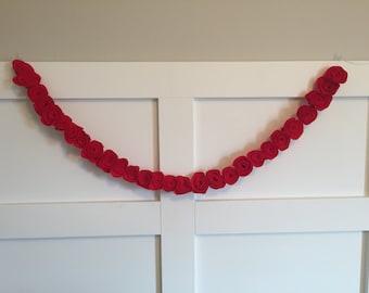 Cherry Red Felt Flower Garland, Rose Felt Garland, Christmas, Nursery Decor, Baby Girl Shower Flower Decor, Wedding Decor, Valentine's Day