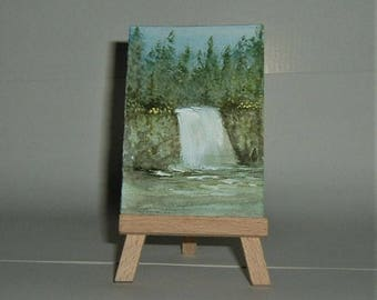 aceo miniature art painting waterfall (ref E144)