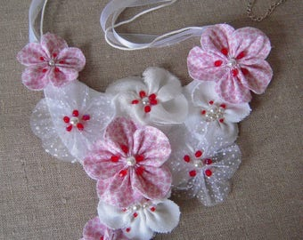 "Bib necklace fabric, ""blossoming of spring cherry blossom"""