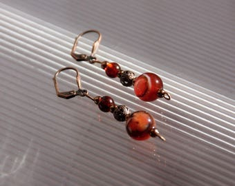 Agate earrings Orange, amber, mother of Pearl, copper metal finishes