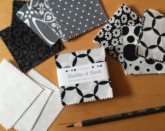 """Moda MINI Charm - Shades of Black - 2.5"""" Square (1) Pack - Me & My Sister Designs - Modern Quilting Craft Cotton Fabric"""