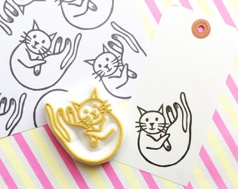friendly cat rubber stamp | pet animal stamp | holiday card making | diy gift wrapping | gift for cat lovers | hand carved by talktothesun