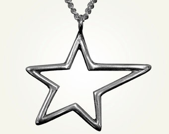 Star Necklace, Sterling Silver, Shooting Star, Handcrafted, Polaris Necklace.