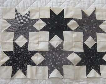 """Beautiful Antique Doll Quilt TOP Lemoyne Star Quilt Block or Table Cloth 21X14"""""""