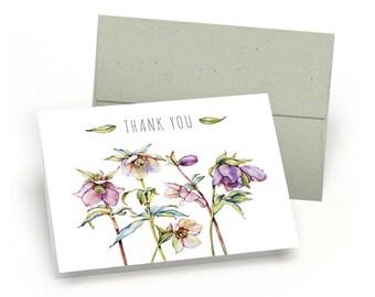 Elegant Set of Thank You Cards - Watercolor Flower Blossoms (10 Cards + Sage Green Envelopes)