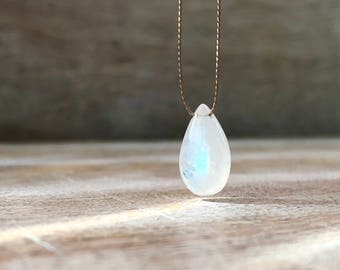 Rainbow Moonstone Necklace, Moonstone Drop Pendant, Floating Stone Necklace, Gift for wife, Gift for girlfriend, Mothers Day Gift for Mother