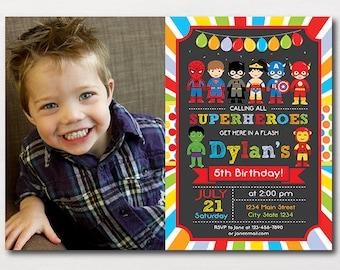 Superheroes Birthday Invitation, Superhero Invitation, Superhero Invite, Superhero Party, Superhero birthday, Photo invite, Printable