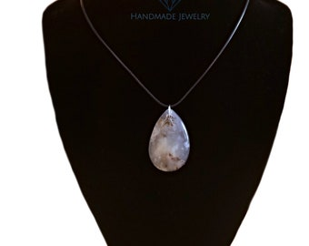 Scenic Cloudy Storm Agate Teardrop Pendant Necklace - Black Cord or Silver Chain - Agate Stone Geode Crystal White