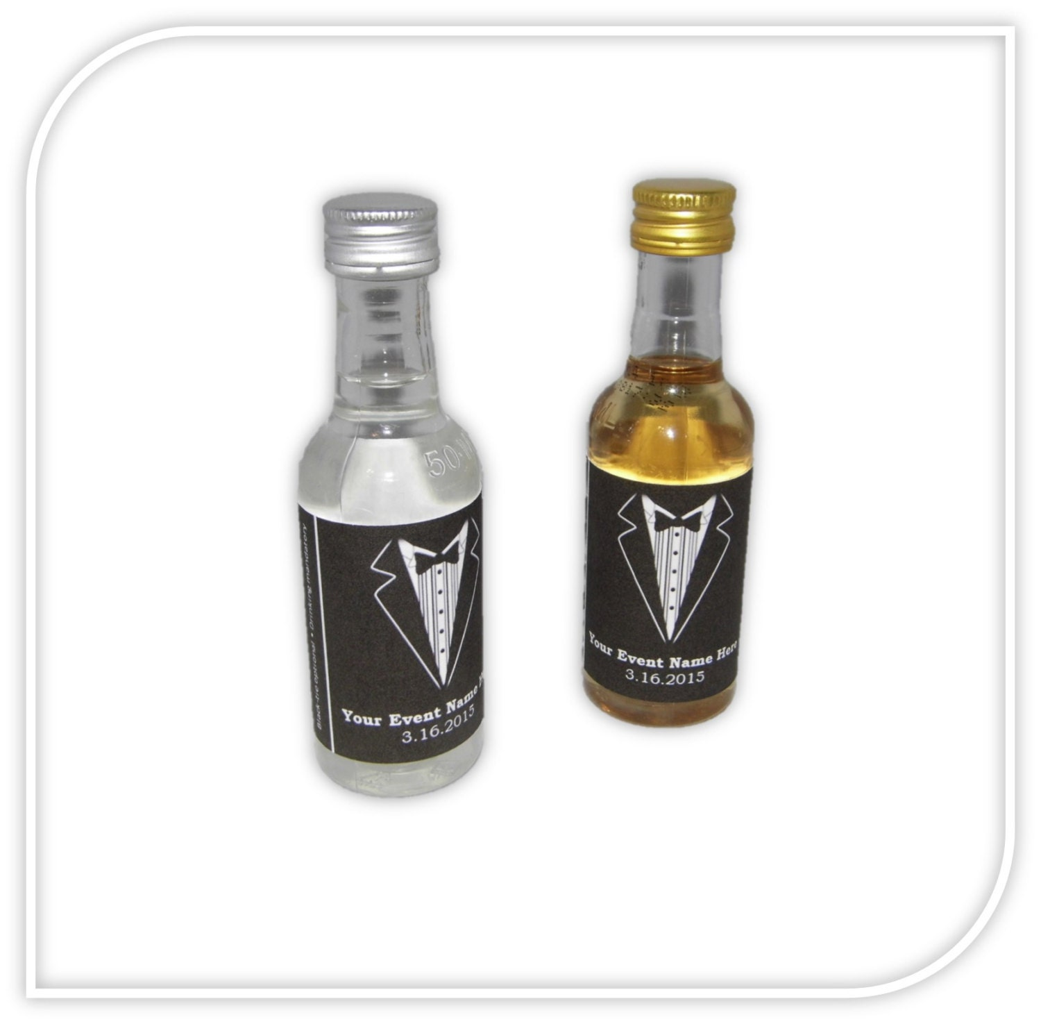 Custom Tuxedo Labels for Mini Liquor Bottles 10