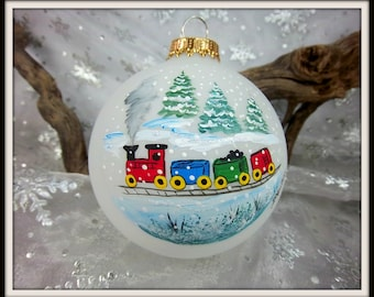 Train Ornament, Christmas Train, Colorful Train, Kids Ornament, Train Lovers, Free Inscription, Hand Painted Gift For Him