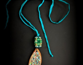 Leaf and bead woven bead on Silk Cord  - Handmade Necklace