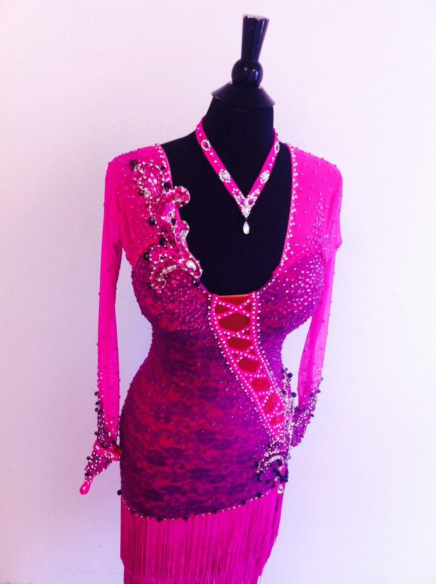 Danza rosa vestido latino de danza vestidos de baile rosa