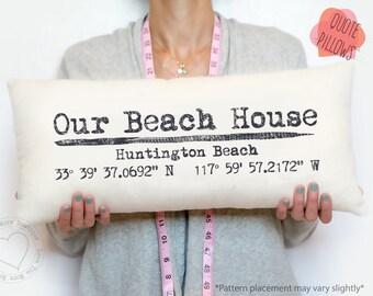Beach house pillow, our beach house pillow, map coordinate pillow, latitude longitude, personalzied map coordinate pillow, housewarming Gift