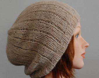 Natural RIAF Soft Warm Hand Crafted Alpaca Slouchy Beanie Hat, Light Tan