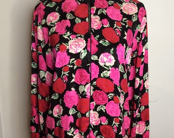 Vintage Flora Kung New York Keyhole Floral Red And Pink Rose Carnation 100% Silk Top Blouse Long Sleeve SZ 10