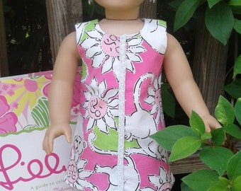 """American Girl doll or 18"""" doll dress made from up-cycled Lilly Pulitzer fabric"""