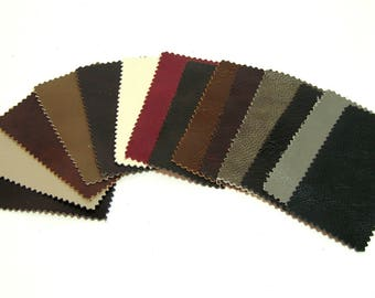 Leather Swatches, Assorted Colors, Fourteen Pieces