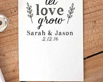 Let Love Grow Stamp, Seed Packet Stamp, Wedding Favor Stamp, Tag Rubber Stamp, Wedding Rubber Stamp, Seed Favor Stamp