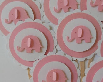 Elephant Cupcake Toppers - Pink and White - Girl Baby Shower Decorations - Girl Birthday Party Decorations - Set of 12