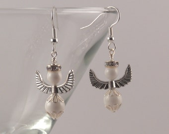 Ivory Swarovski crystal pearl angels earrings with silver halos