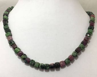 """220 Carat Natural AAA Quality Ruby Ziosite Faceted Box 6 to 7 mm 16"""" Necklace /Gemstone Beads/Semi Precious Beads"""
