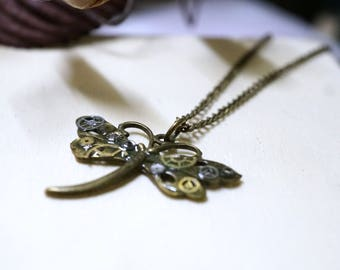 Dragonfly, real gears and watch parts pendant necklace, bronze