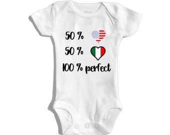 Mexican baby - Half mexican half american - 50 percent mexican - 50 percent american - 100 percent perfect - funny baby bodysuit - babyshowe